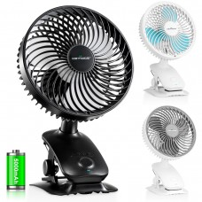 Keynice 6 inch Desk and Clip  Auto Oscillating Fan, 5000mAh Rechargeable Battery Operated, 3 Speeds and Intermittent Wind Setting, KN-618